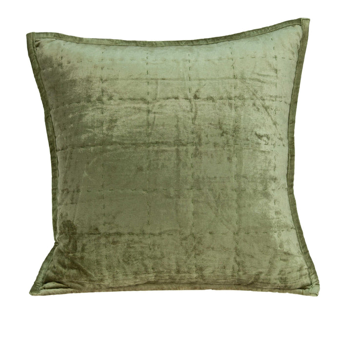 "20"" X 7"" X 20"" Transitional Olive Solid Quilted Pillow Cover With Poly Insert"