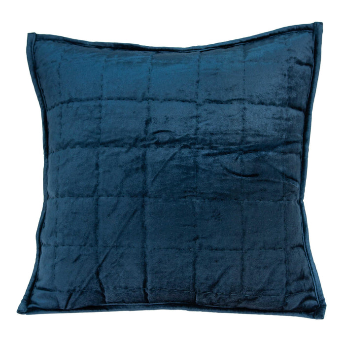 "20"" X 7"" X 20"" Transitional Navy Blue Quilted Pillow Cover With Poly Insert"