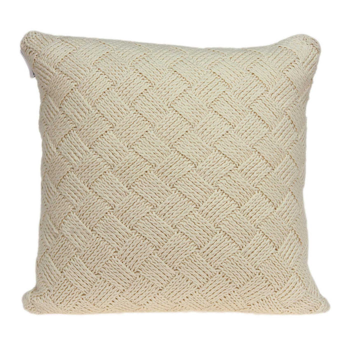 "20"" X 7"" X 20"" Transitional Beige Pillow Cover With Poly Insert"