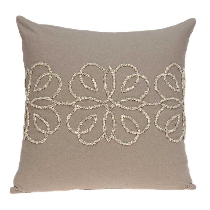"20"" X 0.5"" X 20"" Decorative Transitional Tan Cotton Pillow Cover"