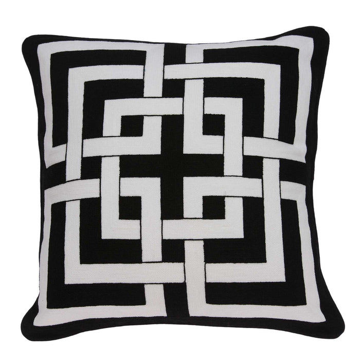"20"" X 7"" X 20"" Transitional Black and White Pillow Cover With Poly Insert"