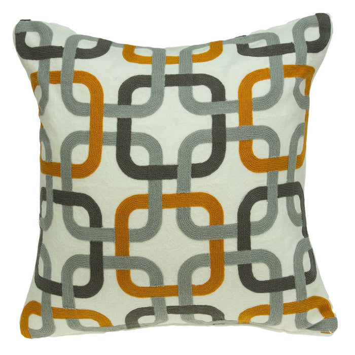 "20"" X 7"" X 20"" Cool Transitional Gray and Orange Pillow Cover With Poly Insert"