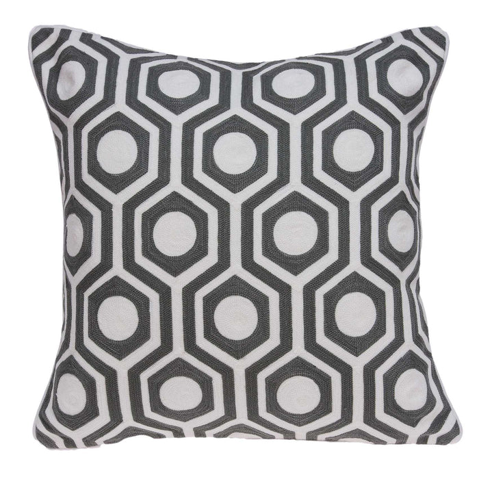 "20"" X 7"" X 20"" Cool Gray and White Pillow Cover With Poly Insert"