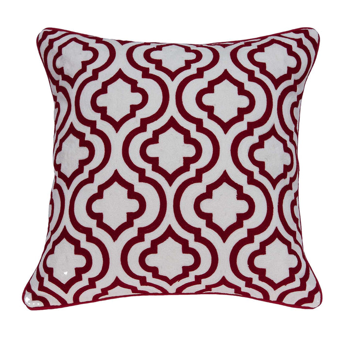 "20"" X 7"" X 20"" Transitional Red and White Accent Pillow Cover With Poly Insert"