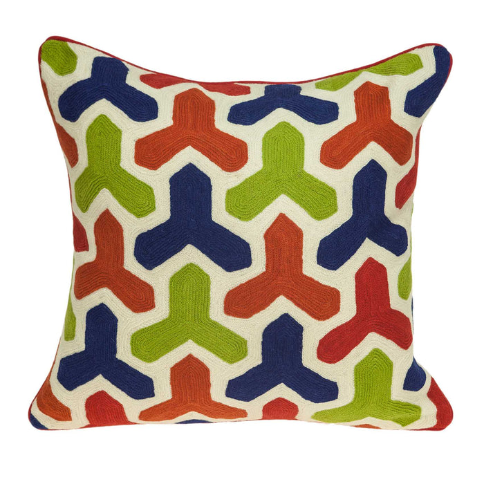 "20"" X 0.5"" X 20"" Handmade Transitional Multicolored Pillow Cover"