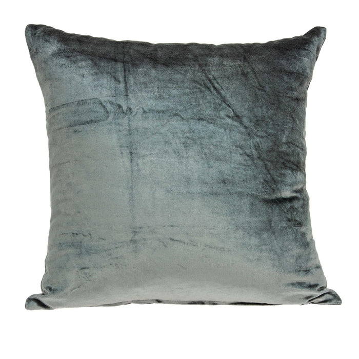 "18"" X 7"" X 18"" Transitional Charcoal Solid Pillow Cover With Down Insert"