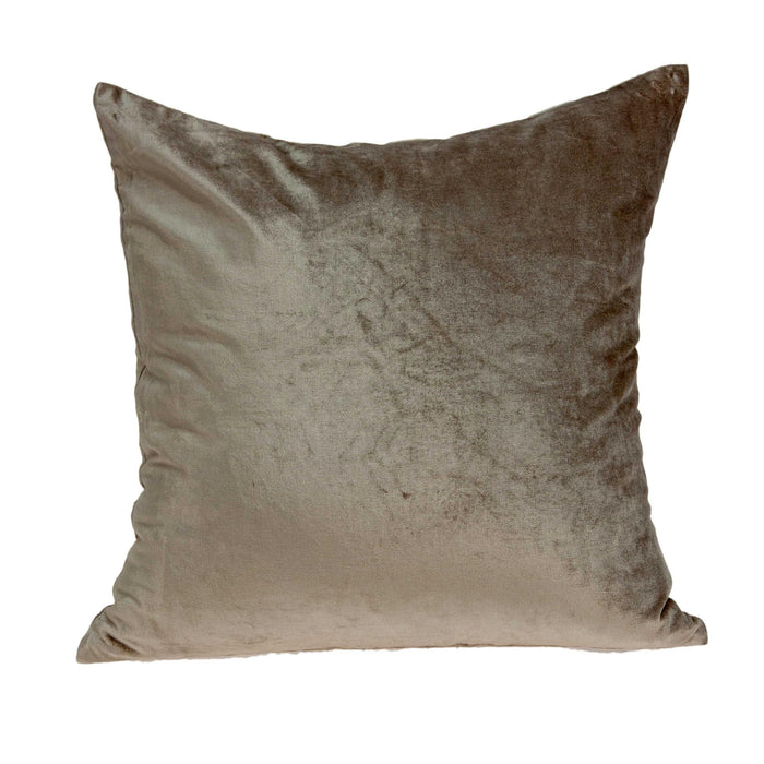 "18"" X 7"" X 18"" Transitional Taupe Solid Pillow Cover With Down Insert"