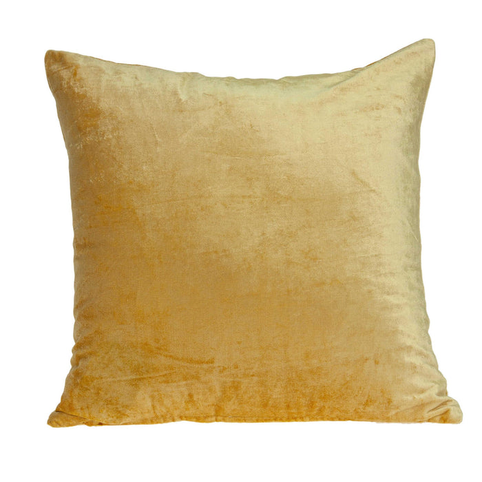 "18"" X 7"" X 18"" Transitional Yellow Solid Pillow Cover With Down Insert"
