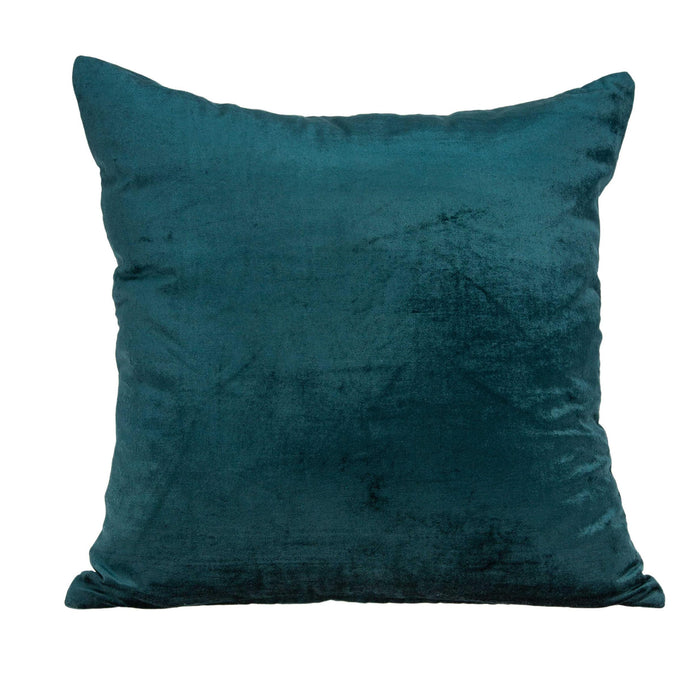 "20"" X 7"" X 20"" Transitional Teal Solid Pillow Cover With Down Insert"