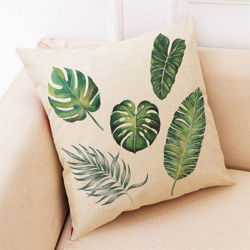 Home Decor Cushion Cover Big Leaf Tropical Plants