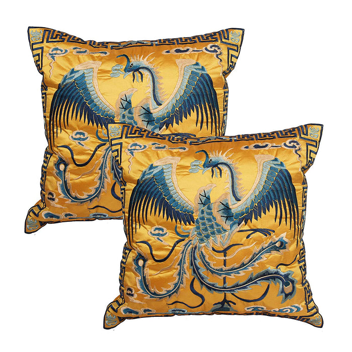 Queenie - 2 Pcs Silky Oriental Chinese Phoenix Embroidered Decorative Throw Pillow Case Cushion Cover 17.25 x 17.25 Inch 44 x 44 cm (CS94 Beige)