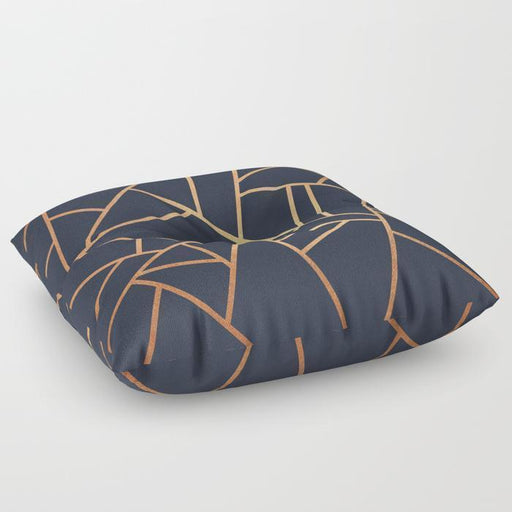 Abstract Copper Lines Floor Pillow
