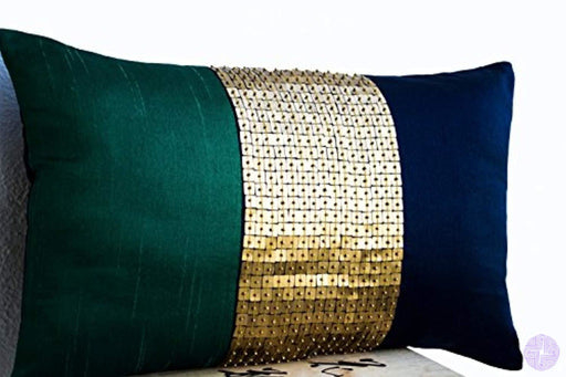 Amore Beaute Handmade Decorative Pillow Case - Beaded Throw Cover Emerald Green Navy Blue Gold Color