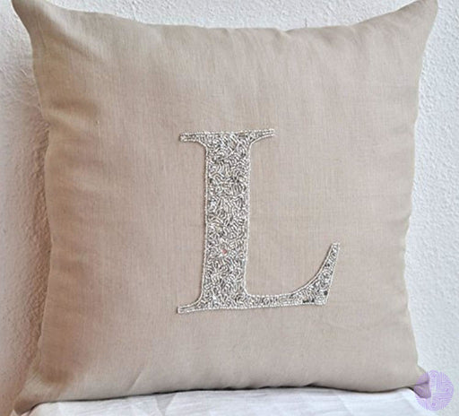 Amore Beaute Handmade Decorative Pillow Cover - Customized Silver Sequin Monogrammed -Personalized
