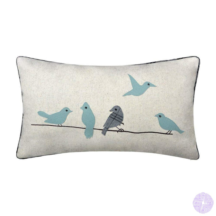 Applique And Embroidery Bird Decorated Throw Pillow Covers Blue 1
