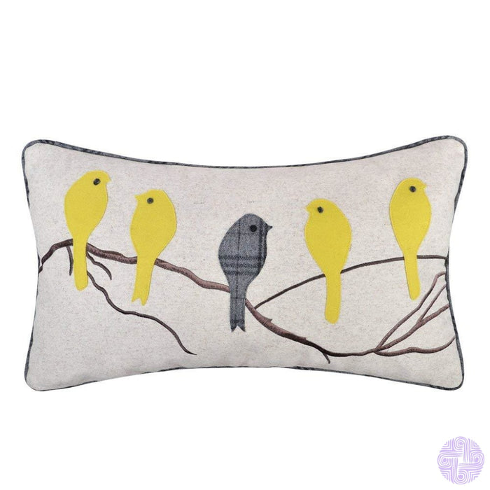 Applique And Embroidery Bird Decorated Throw Pillow Covers Bright Yellow