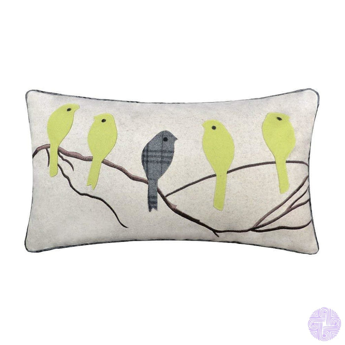 Applique And Embroidery Bird Decorated Throw Pillow Covers Light Green