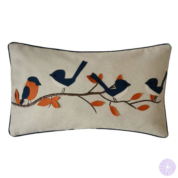 Applique And Embroidery Bird Decorated Throw Pillow Covers Orange Blue