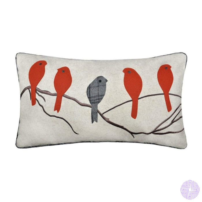 Applique And Embroidery Bird Decorated Throw Pillow Covers Red
