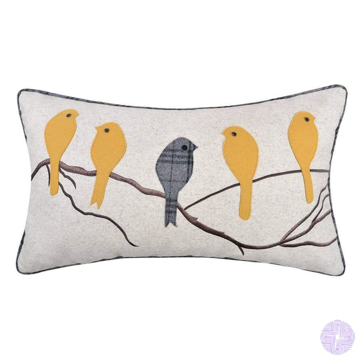 Applique And Embroidery Bird Decorated Throw Pillow Covers Yellow