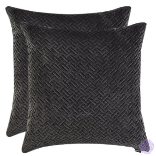 Artcest Set Of 2 Decorative Velvet Bed Throw Pillow Case Sofa Soft Quilted Pattern Comfortable Couch
