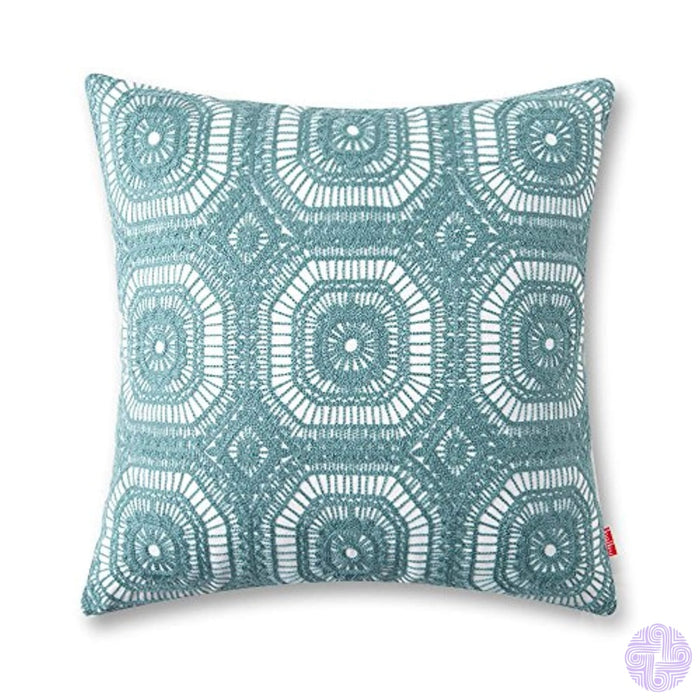 Baibu Embroidered Cushion Cover Unique Pattern Designs Teal Throw Pillow Turquoise