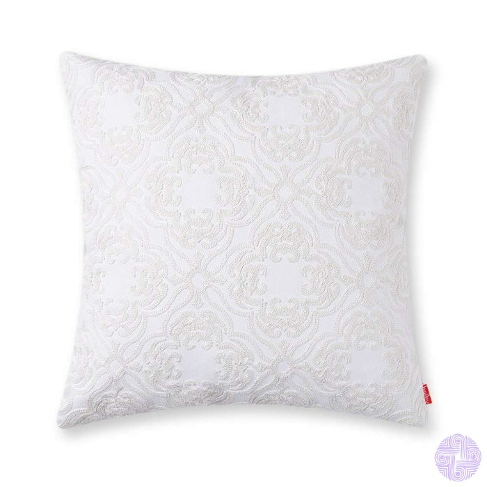 Beach Inspired Embroidered Throw Pillow Covers 1Pc / Ivory White