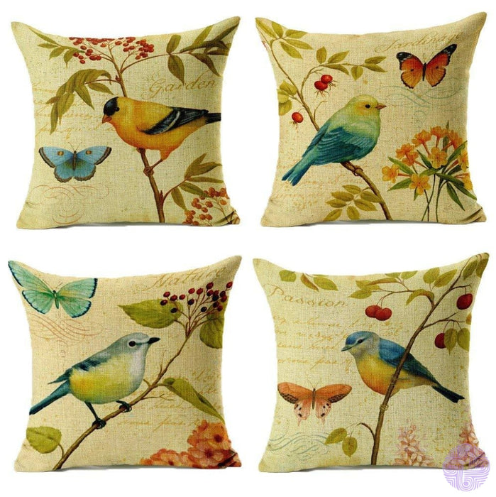 Bird And Nature Inspired Throw Pillow Covers A Yellow( Set Of 4 Pcs)