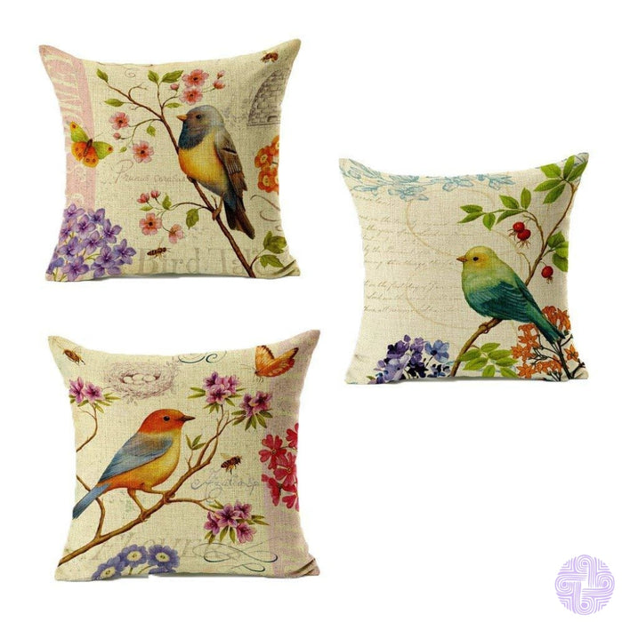 Bird And Nature Inspired Throw Pillow Covers B (Set Of 3)
