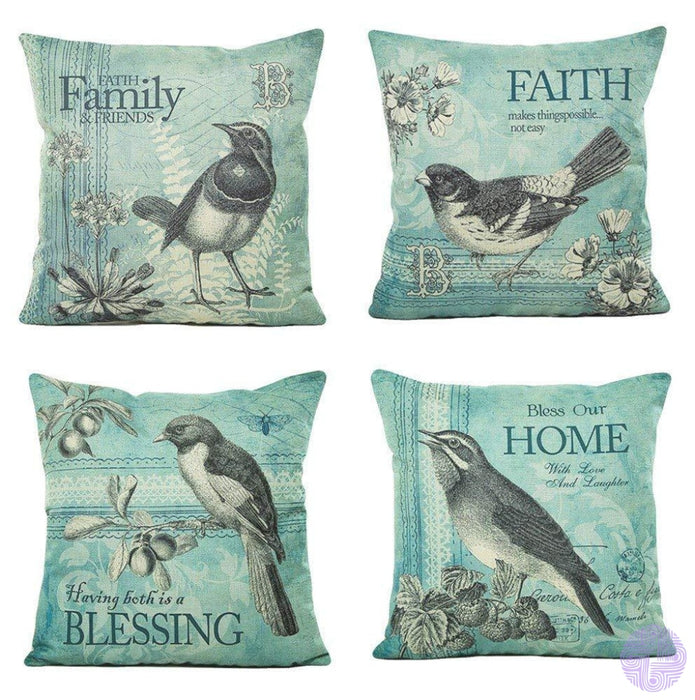 Bird And Nature Inspired Throw Pillow Covers E(Set Of 4 Pcs)