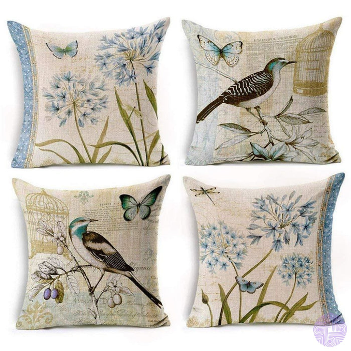 Bird And Nature Inspired Throw Pillow Covers G (Set Of 4 Pcs)