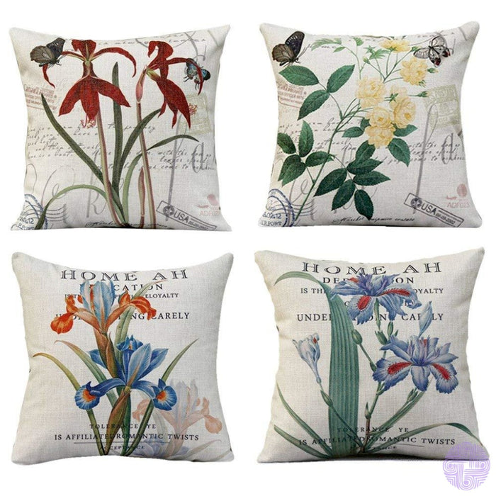 Bird And Nature Inspired Throw Pillow Covers H (Set Of 4 Pcs)