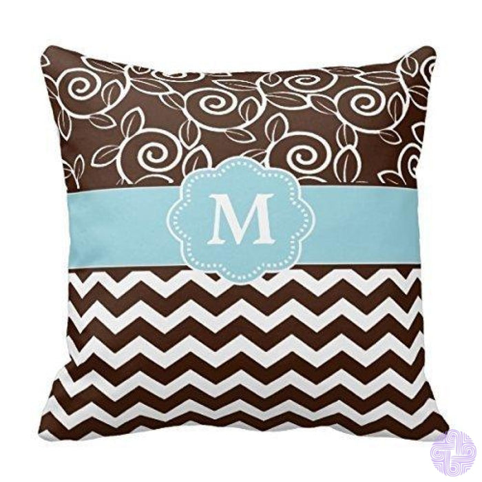 Black And White Single Initial Monogram Throw Pillow Cover Design07