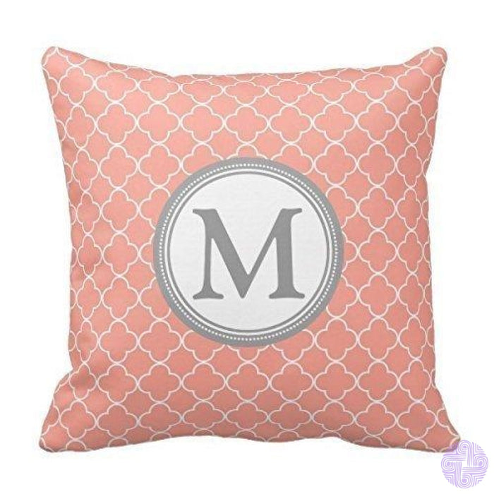 Black And White Single Initial Monogram Throw Pillow Cover Design10