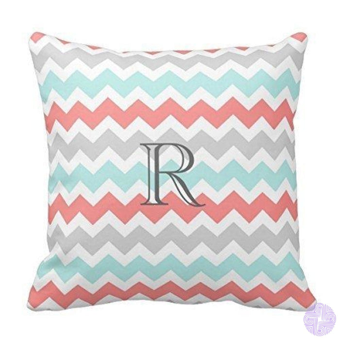 Black And White Single Initial Monogram Throw Pillow Cover Design12