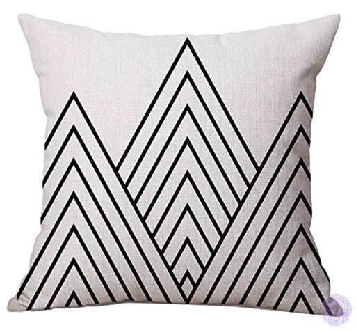 Bluettek Modern Simple Geometric Style Soft Linen Burlap Square Throw Pillow Covers 18 X Inches