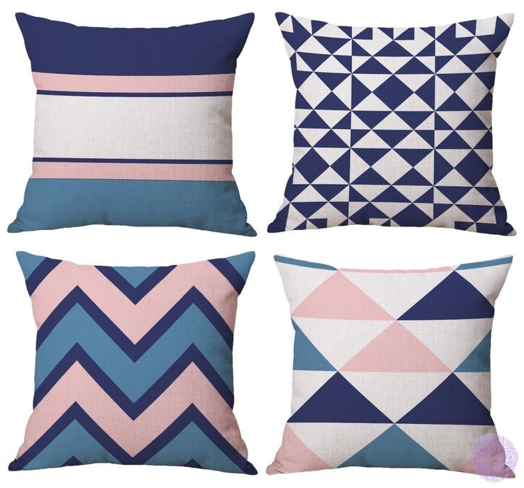 Bluettek Modern Simple Geometric Style Soft Linen Burlap Square Throw Pillow Covers 18 X Inches Set