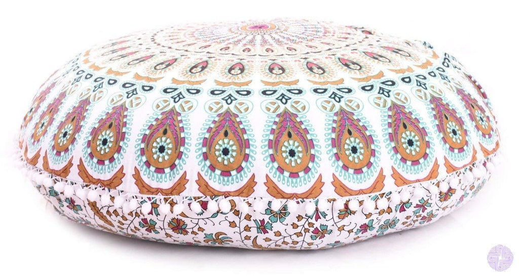 Bohemian Inspired Round Seating Cushions Lavender