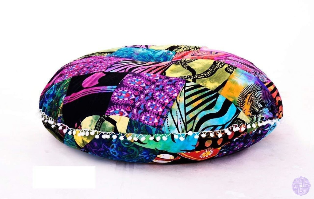 Bohemian Inspired Round Seating Cushions Multicolor