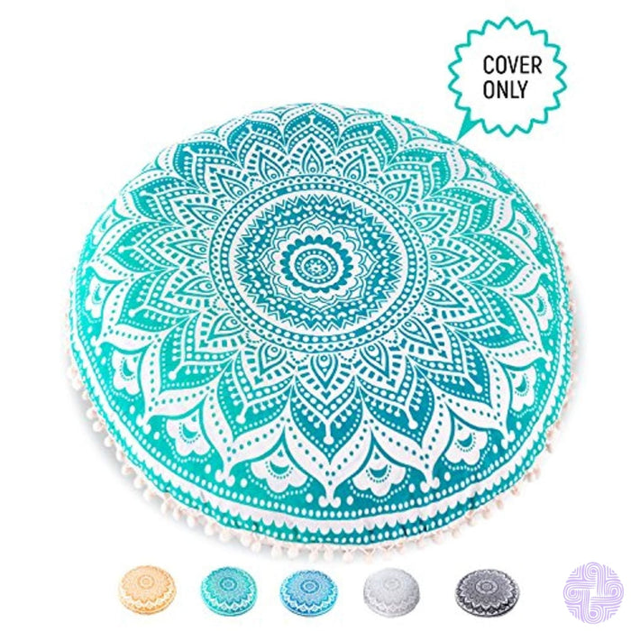Bohemian Yoga Decor Floor Cushion Cover - 30 Round Meditation Pillow / Pouf Case Turquoise 100% Hand