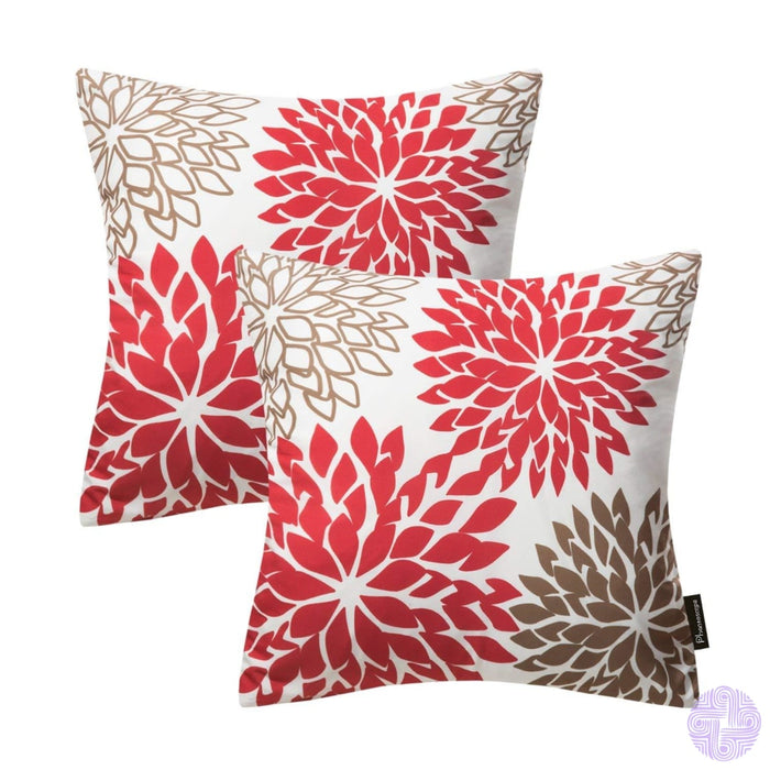 Bold Blooms Throw Pillow Covers Red