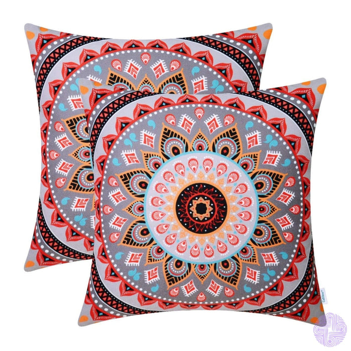 Brilliant Color Mandala Inspired Throw Pillow Covers Compass # A