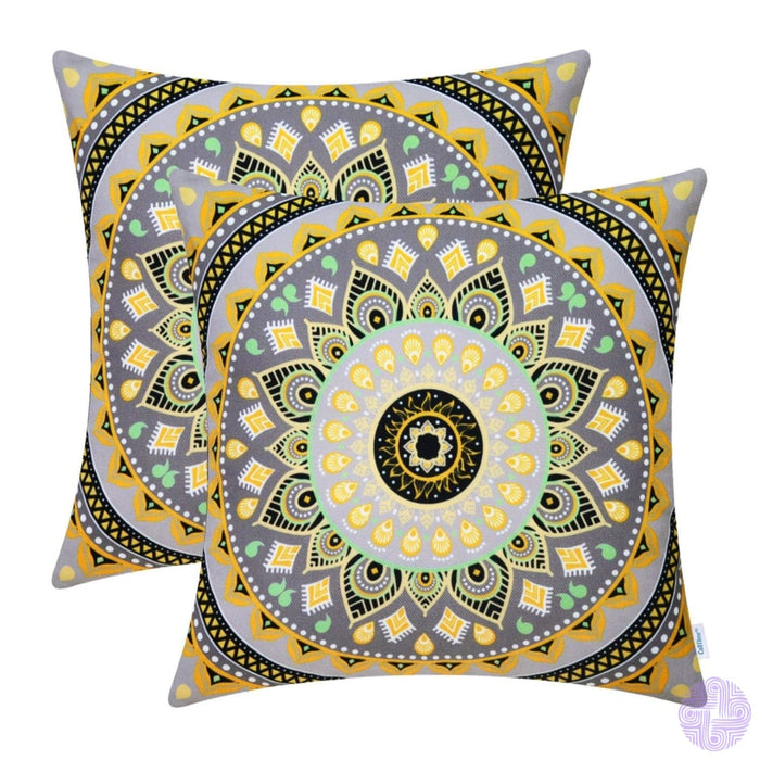 Brilliant Color Mandala Inspired Throw Pillow Covers Compass # D