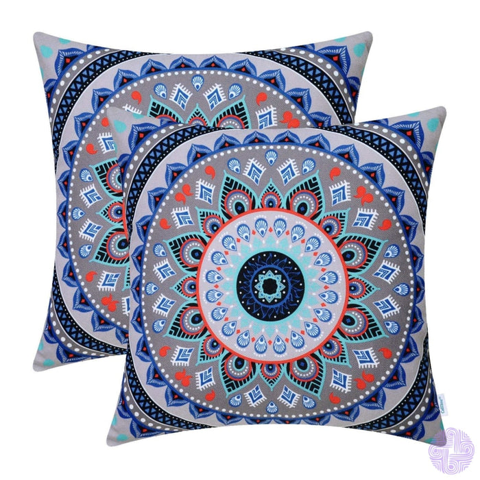 Brilliant Color Mandala Inspired Throw Pillow Covers Compass # E