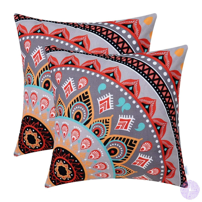 Brilliant Color Mandala Inspired Throw Pillow Covers Quarter # A