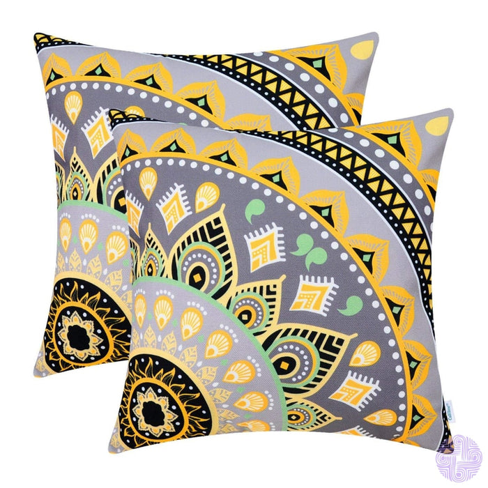 Brilliant Color Mandala Inspired Throw Pillow Covers Quarter # D