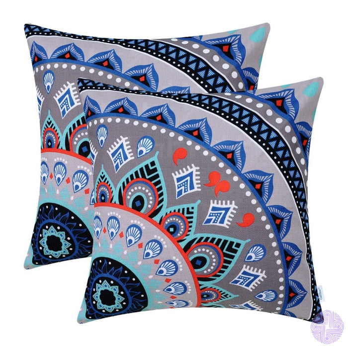 Brilliant Color Mandala Inspired Throw Pillow Covers Quarter # E
