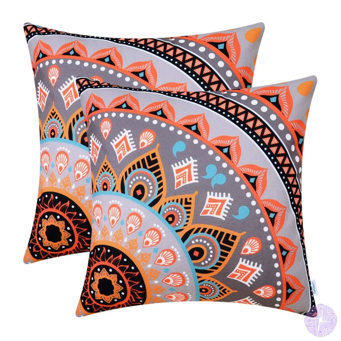 Brilliant Color Mandala Inspired Throw Pillow Covers Quarter # I