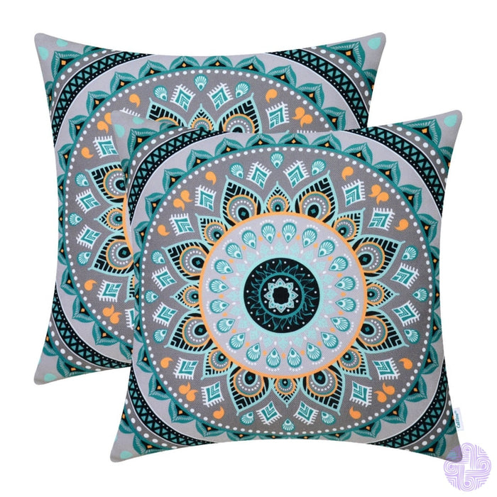 Calitime Pack Of 2 Soft Canvas Throw Pillow Covers Cases For Couch Sofa Home Decor Retro Mandala