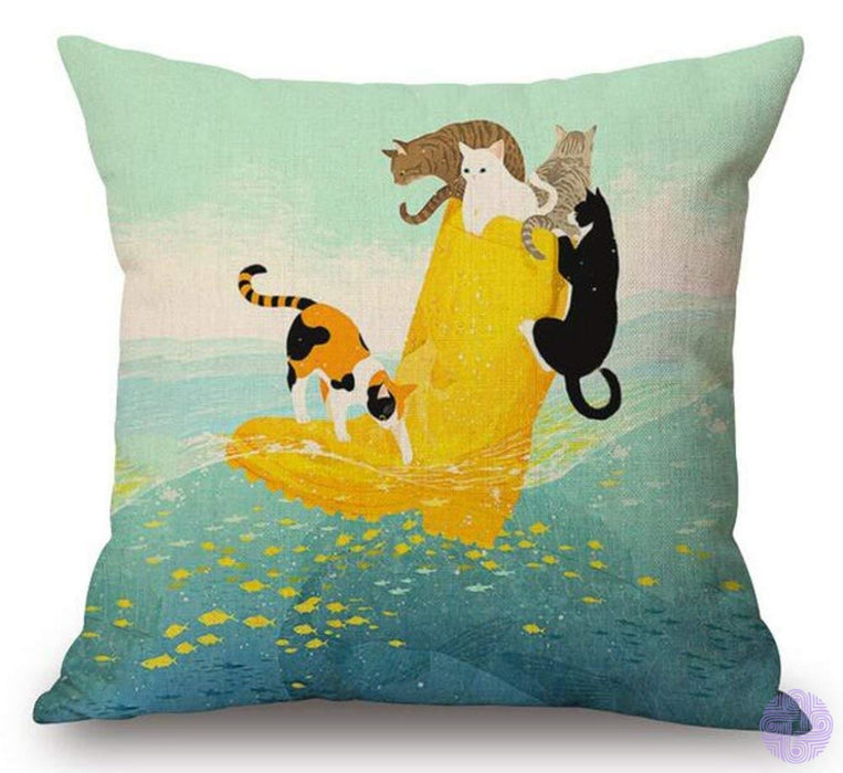 Cartoon Cat And Mouse Decorated Throw Pillow Covers 1